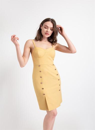 Rue Düğme Detaylı Kuplu Elbise Sarı